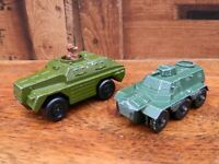 Matchbox Rollamatics Army Stoat Vehicle and Lesyney Saracen Personnel Carrier