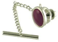 Lilac Purple Amethyst Stone Oval Tie Tac Select Gift Pouch