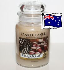 YANKEE CANDLE ** Ebony Oak ** LARGE GLASS JAR ** 150 HOUR CANDLE