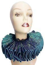 Ruffled Collar Teal Blue Elizabethan Neck Ruff Victorian Queen Steampunk Tudor
