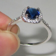 Size 10/T Lady Jewelry 925 Sterling Silver Blue Sapphire Wedding Engagement Ring