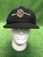 Vintage cotton ranch black leather strap back hat cap Fast Free Shipping