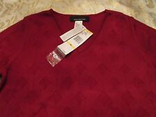 NWT JONES NEW YORK V NECK ROSE COLORED TOP SIZE M RETAILS FOR 79.00