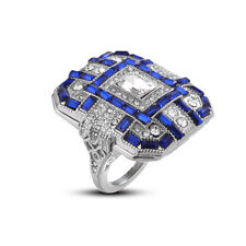 Women Vintage Large Square Synthetic Sapphire Ring Engagement Jewelry 6A