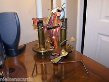 Folk Art Clown on Unicycle High-Wire Act Copper Wire and Scrap Metal