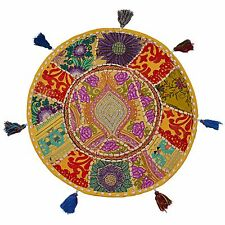 Indian Cotton Patchwork Floor Cushion Cover Vintage Embroidered Pouf Footstools