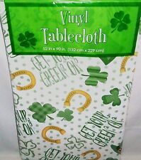 """ST PATRICK'S DAY Vinyl Tablecloth  52"""" x 90"""" Oblong  GET YOUR GREEN ON"""