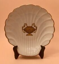 Vintage Limoges Shell Dish featuring Gold, Double Handled, Greek Urn & Gold Trim