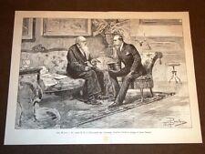 Re Umberto I di Savoia visita il Presidente Consiglio Agostino Depretis nel 1887