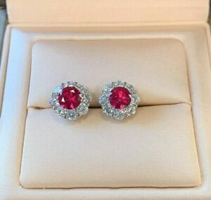 4.00 Carat Red Ruby And Diamond Halo Stud Earring 14K White Gold Finish