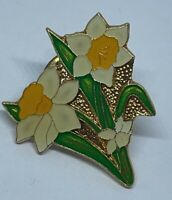 Beautiful Vintage 80s Enamel Flower Daffodils Cloisonné Pin Badge Brooch Broche