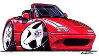 1989-1997 Miata MX-5 Red Cartoon t-shirt mx5 mazda eunos available sizes S-3XL