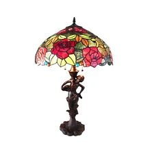 "Tiffany Style Stained Glass 2 Bulb With Roses 18"" Shade 27"" Tall Table Lamp"