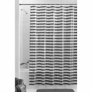 "Mainstays 13-Piece Luisa PEVA Shower Curtain w/ Hooks 70"" x 72"" Black & Grey"