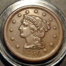 Nice brown XF++ to AU tougher 1850 Braided hair US large cent 1C copper penny
