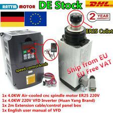 『DE』4KW 220V ER25 Frässpindel CNC Air cooled spindle motor + 4KW HY Inverter VFD