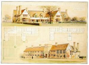 Postcard CFA Voysey Arts & Crafts Design Broad Leys Lake Windermere 1898 MINT