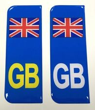 2 x Union Jack GB Vehicle Number Plate Stickers - 39mm - HIGH GLOSS DOMED GEL