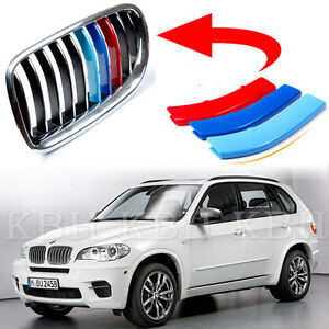 Fits BMW X5 E70 2008-2013 Kidney Grille Slats M Sport 3 Colour Cover Stripe Clip