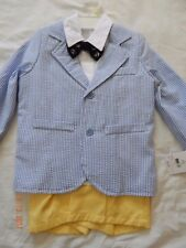 NWT J. Khaki Boys 3T Seersucker (4) PC Suit church Spring NAUTICAL Handsome dres