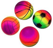 4 ASSORTED RAINBOW SPORTS BALLS basketball soccer baseball volleyball KICK BALL