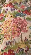 Pottery Barn Full Queen Duvet Cover Woodland Paint by Number Flowers Trees Euc