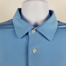 FJ FootJoy Mens Blue Mini Striped Adult S/S Polo Shirt Sz XL