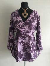 £39 John Rocha Debenhams Grey Sheer Applique Embellished Blouse Evening  Size 8