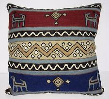 "Kashmir Pillow Cushion Cover Wool 16"" Crewel Ari Chain Stitch India Geometric"