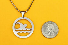 Swimmer Pendant Stainless Steel FREE beaded chain necklace