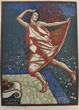 "Allen Lewis Color Woodblock Print Of Dancing Lady Signed In Pencil 8"" X 5 1/8"""