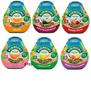 ROBINSONS SQUASH'D FRUITS CONCENTRATE DRINK MIXER NO SUGAR 66ml SELECT FLAVOUR
