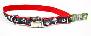 "Ribbon: Designer Adjustable Collar - 18-26"", Chrome Buckle, Skull & Bones 