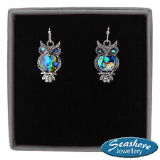 Owl Earrings Paua Abalone Shell Womens Silver Fashion Jewellery 20mm Drop