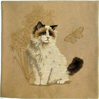"""NEW CAT & BUTTERFLY 18"""" TAPESTRY CUSHION COVER 5113 WITH FULL LENGTH ZIP"""