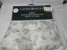 New Laura Ashley EMMA Sheer Rod Pockets Panels 2(40x84) Blue, Olive, Ivory NIP