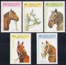 Laos 1996 caballos de silla de montar/Animales/transporte conjunto 5 V en funcionamiento (n35226)