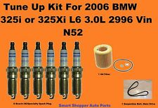 Tune Up Kit For 2006 BMW 325I 325Xi L6 2 Spark Plug, Serpentine Belt, Oil Filter