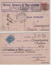 """# FIRENZE: testatina """"BUON SENSO E TRICOLORE- CON RICEVUTA SALDO CARTOLINE..1924"""