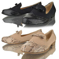 Womens ladies loafers bow brogue tassel flat casual pumps work school shoes size