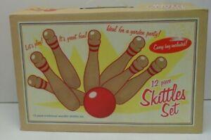 Traditional Wooden Skittles Garden Game Set - 10 Pieces