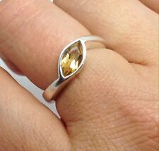 Citrine faceted solid Sterling Silver ring UK size Q, Marquise, UK Seller