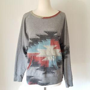 Lucky Brand Southwestern Gray Pullover Sweatshirt Size L Women Boho Aztec Pocket