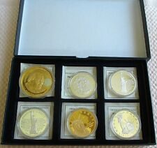 AMERICAN MINT, 6 COIN MEDAL SET, WITH COA'S IN AN ATTRACTIVE FELT CASE. ALL UNC