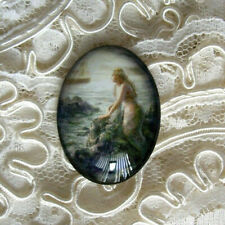 Mermaid By The Sea 30X40mm Glitter Unset Handmade Glass Art Bubble Cameo Cab