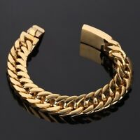 Luxury Men's Heavy Solid Stainless Steel Curb Chain Bracelet Fashion Jewelry