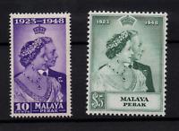 Malaya Perak 1948 Silver Wedding LHM set SG122-123 WS22203