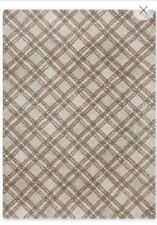 NEXT 100% WOOL DIAGONAL NATURAL CHECKED RUG 100cm x 150cm rrp £80.00