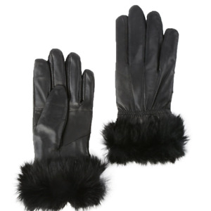 WOMEN'S SHEEP NAPPA LEATHER WARM WINTER FUR GLOVES LADIES HAND GLOVES BLACK NEW