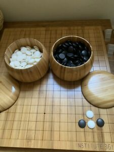 Institute 361 Go Set 19x19 Bamboo Board Game Baduk/WeiQiwith stones and bowls